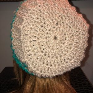 31d8d6b095c Heart Hooked by Alanna Accessories - Handmade Tan and Teal slouch hat